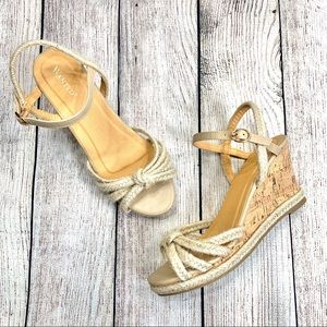 Wanted Braided Twine & Leather Sandal Wedges